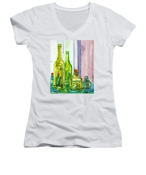 Bottles - Shades Of Green Women's V-Neck T-Shirt (Junior Cut) by Anna Ruzsan