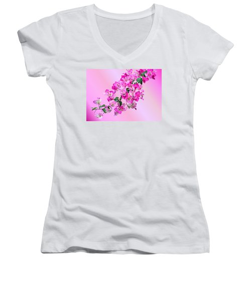 Bougainvillea Women's V-Neck T-Shirt (Junior Cut) by Kristin Elmquist