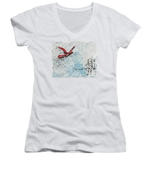 Bound To Fly Women's V-Neck T-Shirt (Junior Cut) by Alys Caviness-Gober
