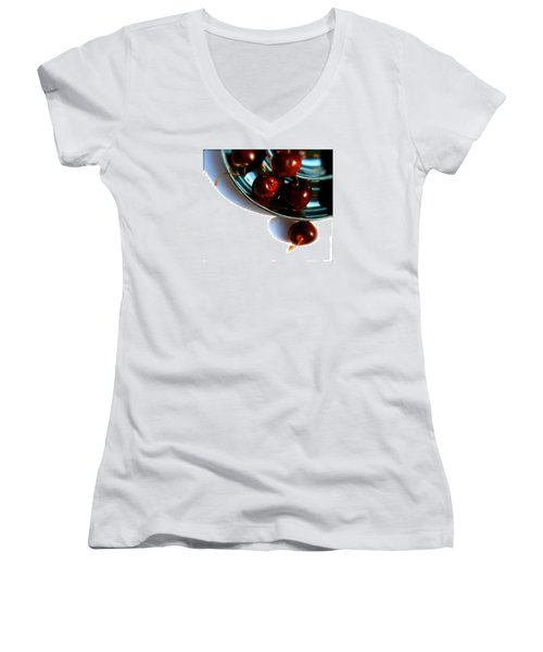 Bowl Of Cherries Women's V-Neck T-Shirt (Junior Cut) by Tracy Male