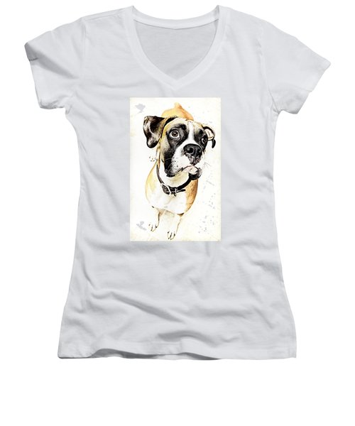 Women's V-Neck T-Shirt (Junior Cut) featuring the photograph Boxer Dog Poster by Peter v Quenter
