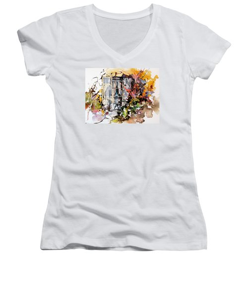Women's V-Neck T-Shirt (Junior Cut) featuring the painting Brambles by Rae Andrews