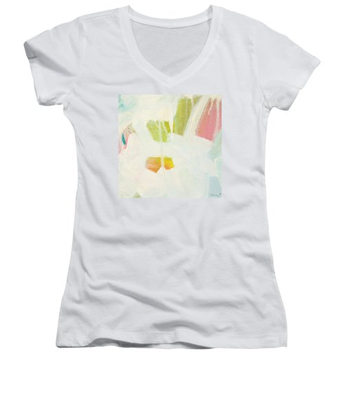 Women's V-Neck T-Shirt (Junior Cut) featuring the painting Breakwater  C2013 by Paul Ashby