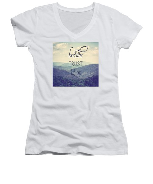 Breathe Trust Let Go Women's V-Neck