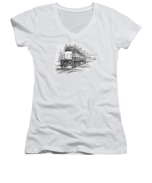 Brecksville Station - Cuyahoga Valley National Park Women's V-Neck T-Shirt (Junior Cut) by Kelli Swan
