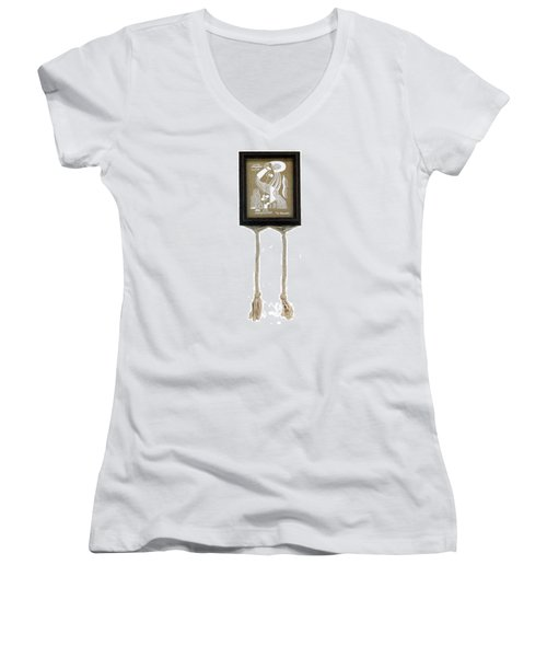 Women's V-Neck T-Shirt (Junior Cut) featuring the painting Breeze by Fei A