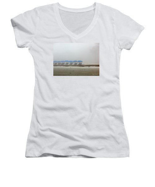 Women's V-Neck T-Shirt (Junior Cut) featuring the photograph 'brella Pattern by Kay Lovingood