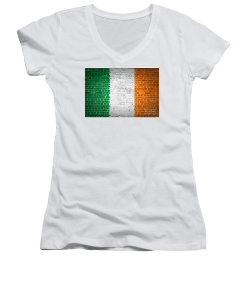 Brick Wall Ireland Women's V-Neck T-Shirt (Junior Cut) by Antony McAulay