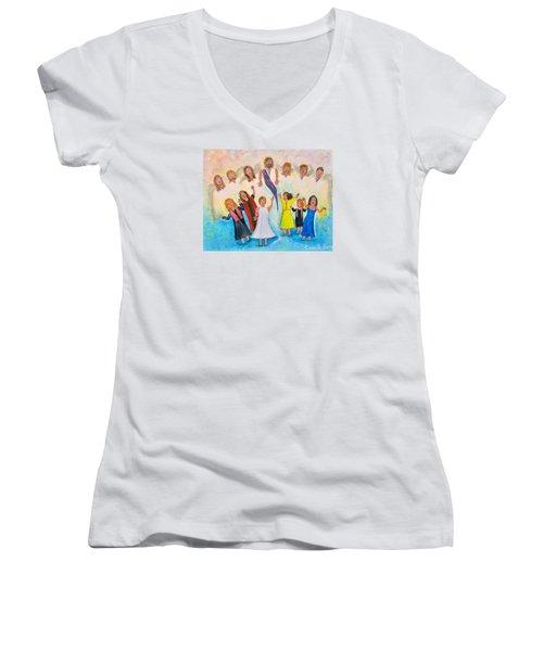 Bridal Invitation Women's V-Neck T-Shirt (Junior Cut) by Cassie Sears