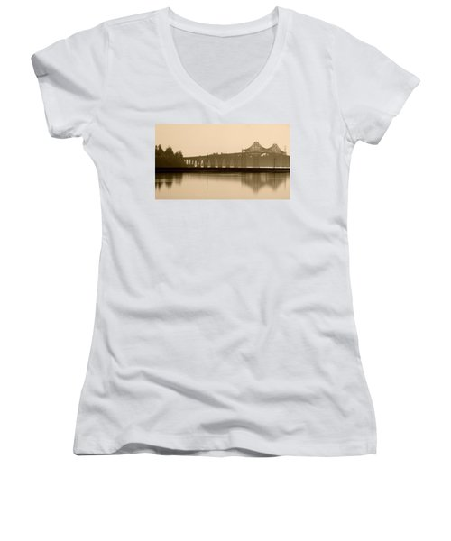 Bridge Reflection In Sepia Women's V-Neck (Athletic Fit)