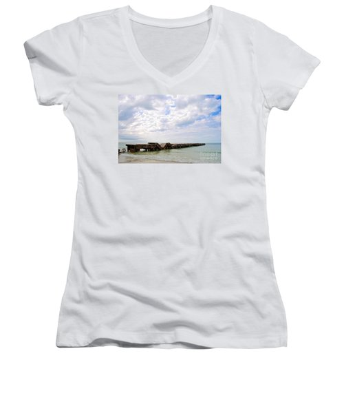 Women's V-Neck T-Shirt (Junior Cut) featuring the photograph Bridge To Nowhere by Margie Amberge