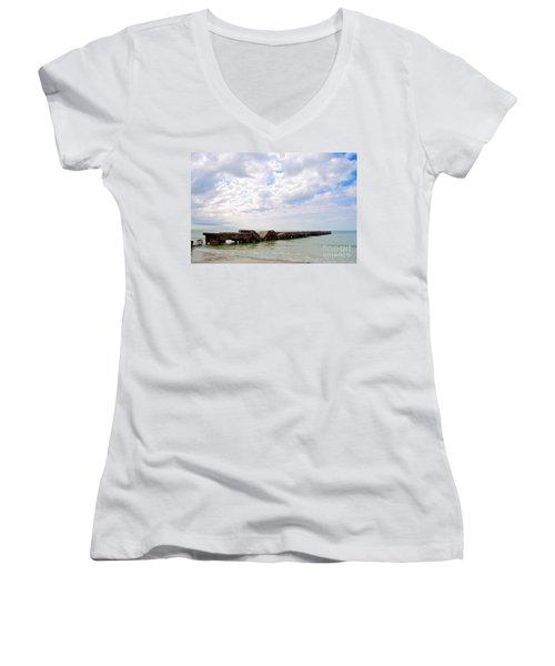 Bridge To Nowhere Women's V-Neck T-Shirt (Junior Cut) by Margie Amberge