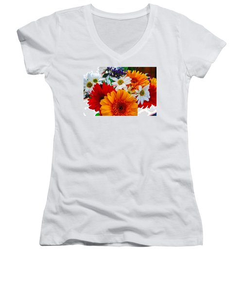 Women's V-Neck T-Shirt (Junior Cut) featuring the photograph Bright by Angela J Wright