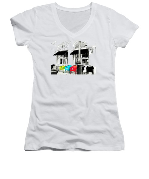 Women's V-Neck T-Shirt (Junior Cut) featuring the photograph Bright Bistro by Kathy Bassett
