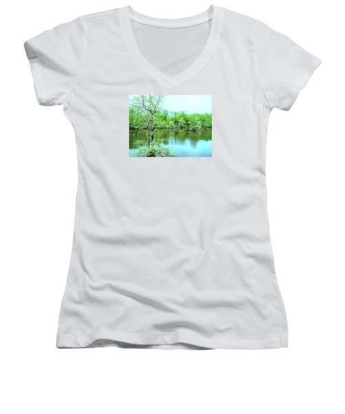Bright Green Mill Pond Reflections Women's V-Neck (Athletic Fit)