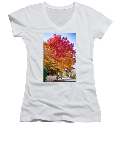 brilliant autumn colors on a Marblehead street Women's V-Neck T-Shirt (Junior Cut) by Jeff Folger