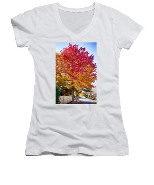 brilliant autumn colors on a Marblehead street Women's V-Neck T-Shirt