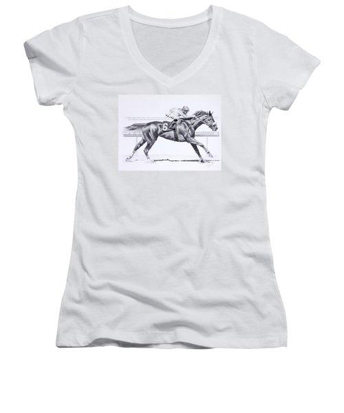 Bring On The Race Zenyatta Women's V-Neck T-Shirt