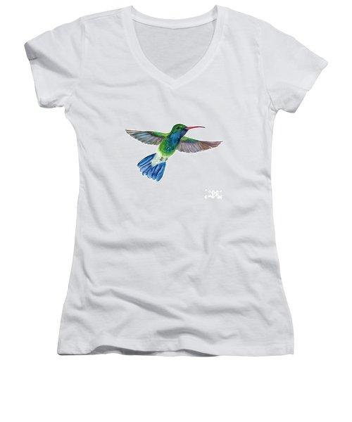 Broadbilled Fan Tail Hummingbird Women's V-Neck