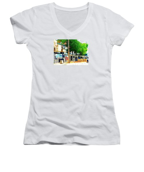 Broadway Oyster Bar With A Boost Women's V-Neck T-Shirt (Junior Cut) by Kelly Awad