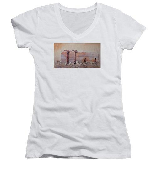 Broken Dock Seward Alaska Women's V-Neck T-Shirt (Junior Cut) by Richard Faulkner