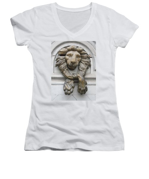 Women's V-Neck T-Shirt (Junior Cut) featuring the photograph Bronze Lion by Pema Hou