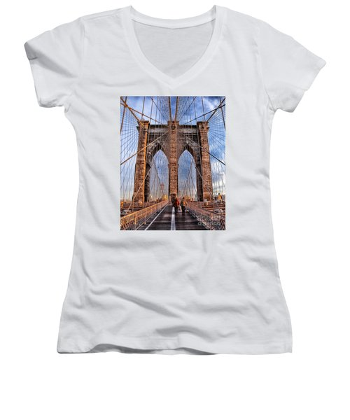 Women's V-Neck T-Shirt (Junior Cut) featuring the photograph Brooklyn Bridge by Paul Fearn