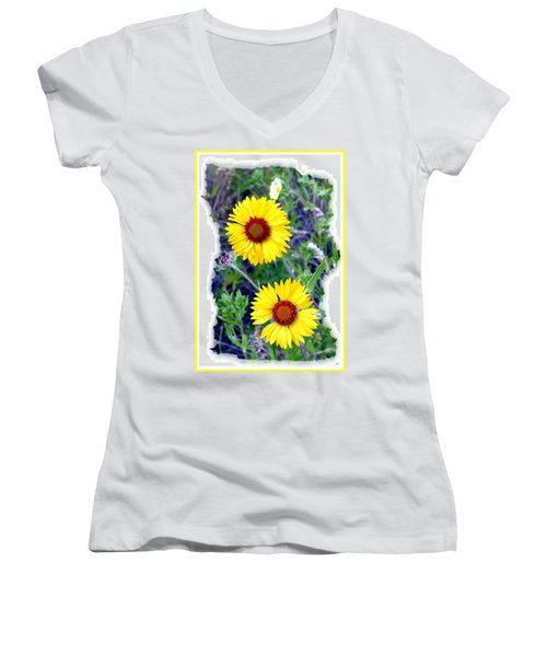 Brown- Eyed Susans Women's V-Neck T-Shirt (Junior Cut)