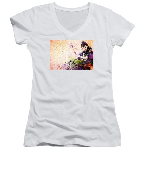 Bruce Springsteen Splats 2 Women's V-Neck T-Shirt (Junior Cut) by Bekim Art