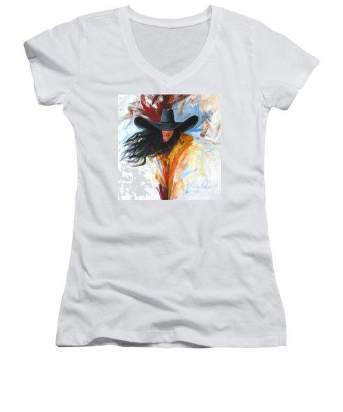 Brushstroke Cowgirl Women's V-Neck T-Shirt