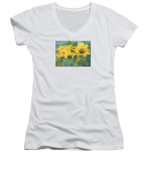 Bucket Of Sunflowers Colorful Original Painting Sunflowers Sunflower Art K. Joann Russell Artist Women's V-Neck T-Shirt (Junior Cut) by Elizabeth Sawyer