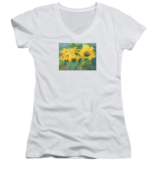 Bucket Of Sunflowers Colorful Original Painting Sunflowers Sunflower Art K. Joann Russell Artist Women's V-Neck T-Shirt