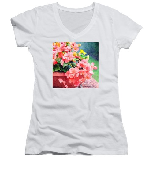 Bucket O Begonias Women's V-Neck T-Shirt (Junior Cut) by Anna Porter