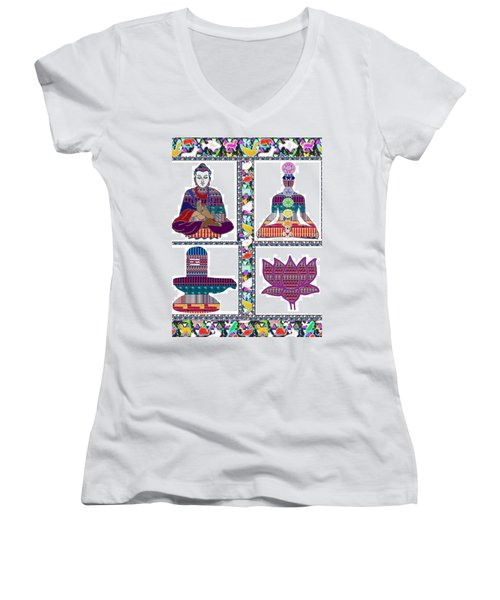 Buddha Yoga Chakra Lotus Shivalinga Meditation Navin Joshi Rights Managed Images Graphic Design Is A Women's V-Neck T-Shirt