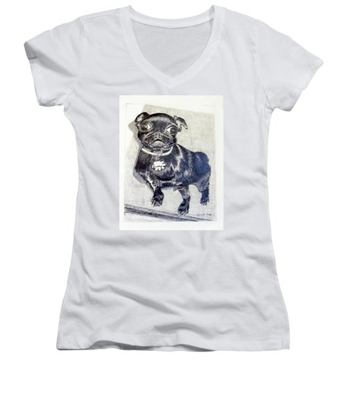 Women's V-Neck T-Shirt (Junior Cut) featuring the drawing Buddy by Jamie Frier