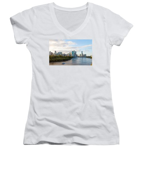 Buildings At The Waterfront, Brisbane Women's V-Neck T-Shirt
