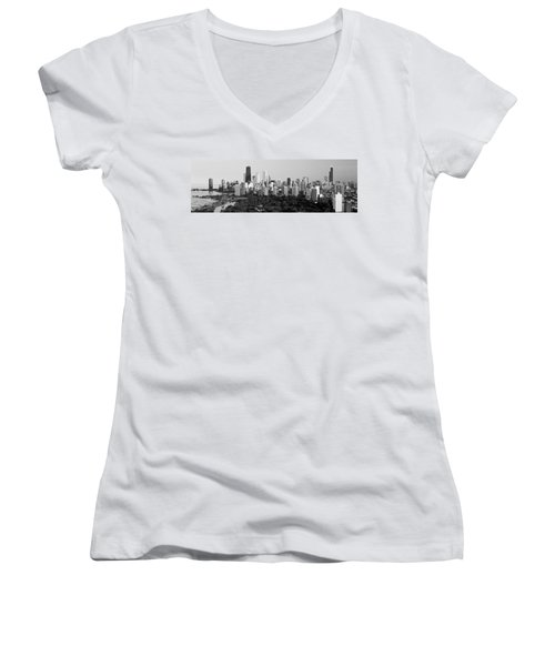 Buildings In A City, View Of Hancock Women's V-Neck T-Shirt (Junior Cut) by Panoramic Images