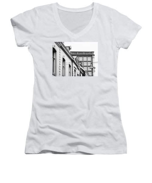 Buildings In Maastricht Women's V-Neck T-Shirt (Junior Cut) by Nick  Biemans