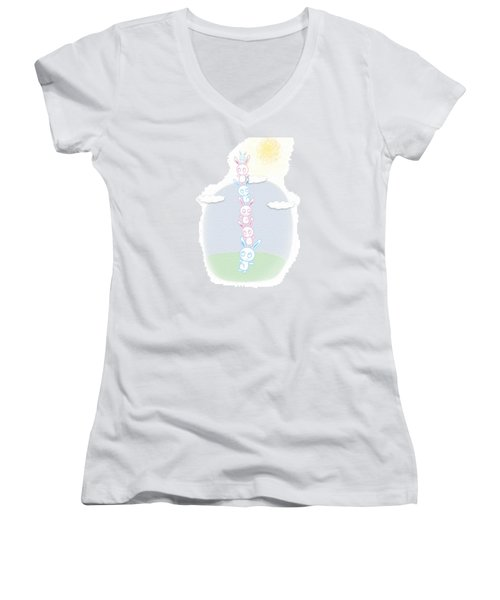 Bunny Tower Childrens Illustration Women's V-Neck T-Shirt (Junior Cut) by Lenny Carter