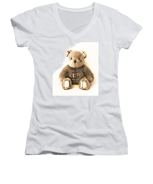 Burberry Bear Women's V-Neck T-Shirt (Junior Cut) by Gina Dsgn
