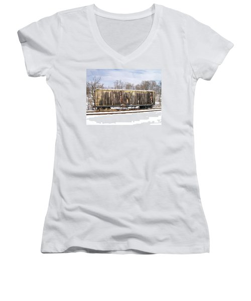 Women's V-Neck T-Shirt (Junior Cut) featuring the photograph Burnt by Sara  Raber