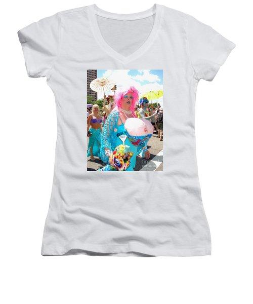 Women's V-Neck T-Shirt (Junior Cut) featuring the photograph Busty Mermaid by Ed Weidman