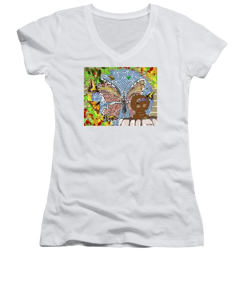 Butterflies And Bees Women's V-Neck (Athletic Fit)