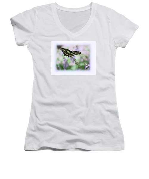 Women's V-Neck T-Shirt (Junior Cut) featuring the photograph Butterfly 8 by Leticia Latocki