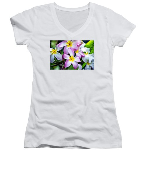 Women's V-Neck T-Shirt (Junior Cut) featuring the photograph Butterfly Flowers by Thomas Woolworth