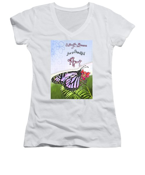 Butterfly Kisses Women's V-Neck T-Shirt (Junior Cut) by Susan Kinney