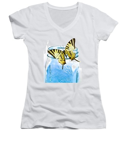 Butterfly On A Blue Jar Women's V-Neck T-Shirt