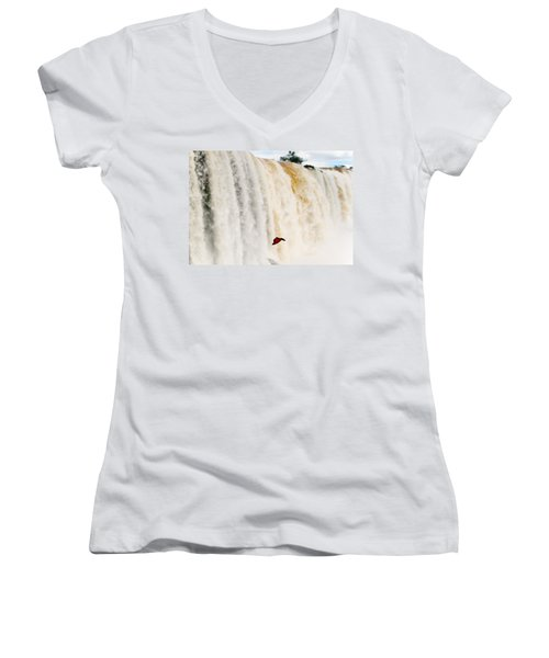 Women's V-Neck T-Shirt (Junior Cut) featuring the photograph Butterfly by Silvia Bruno