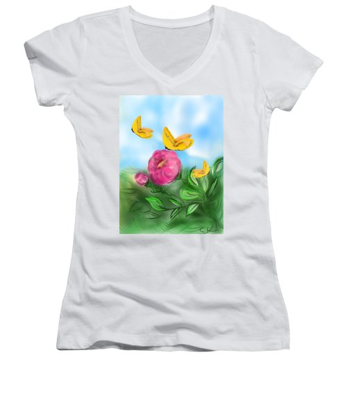 Women's V-Neck T-Shirt (Junior Cut) featuring the digital art Butterfly Triplets by Christine Fournier