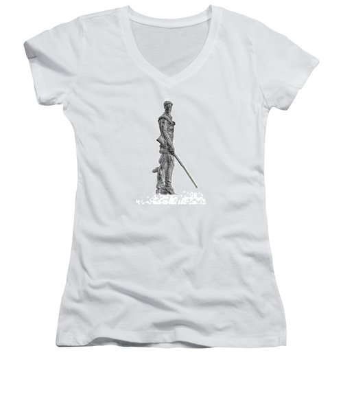 Bw Of Mountaineer Statue Women's V-Neck T-Shirt (Junior Cut) by Dan Friend